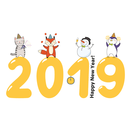 Hand drawn Happy New Year 2019 greeting card, banner template with cute funny cartoon animal on big numbers, celebrating, typography. Isolated objects. Vector illustration. Design concept for party.