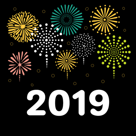 Hand drawn New Year 2019 greeting card, banner template with numbers, fireworks. Isolated objects on black background. Vector illustration. Design concept for party, celebration. Illustration
