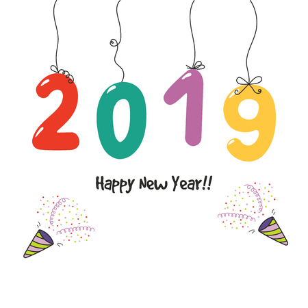 Hand drawn Happy New Year 2019 greeting card, banner template with numbers hanging on the strings, party poppers. Isolated objects on white background. Vector illustration. Design concept for party.