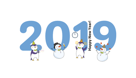 Hand drawn New Year 2019 greeting card, banner template with big numbers, cute funny cartoon penguins, snowmen celebrating, typography. Isolated objects. Vector illustration. Design concept for party. Illustration