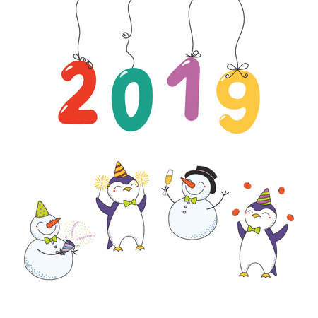Hand drawn Happy New Year 2019 card with numbers hanging on strings, cute funny cartoon penguins, snowmen celebrating. Isolated objects on white background. Vector illustration. Design concept party. Illustration