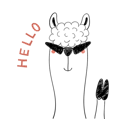 Hand drawn portrait of a cute funny llama in sunglasses, waving, with text Hello. Isolated objects on white background. Line drawing. Vector illustration. Design concept for children print.