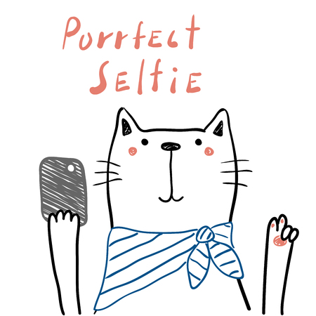 Hand drawn portrait of a cute funny cat in a scarf with a smart phone, taking selfie. Isolated objects on white background. Line drawing. Vector illustration. Design concept for children print. Ilustração