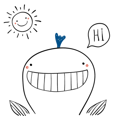 Hand drawn portrait of a cute funny whale, saying Hi. Isolated objects on white background. Line drawing. Vector illustration. Design concept for children print. Ilustrace