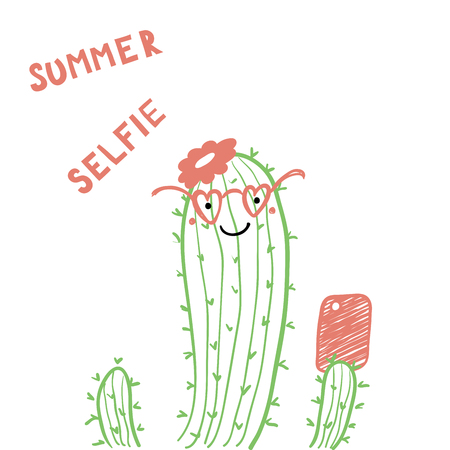 Hand drawn portrait of a cute funny cactus in glasses with a smart phone, taking selfie. Isolated objects on white background. Line drawing. Vector illustration. Design concept for children print.