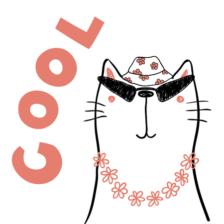 Hand drawn portrait of a cute funny cat in flower chain, bucket hat, sunglasses, with text.