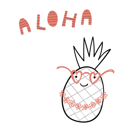 Hand drawn portrait of a cute funny pineapple in flower chain, glasses, with text Aloha. Isolated objects on white background.