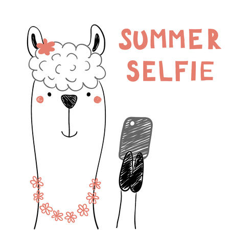 Hand drawn portrait of a cute funny llama in flower chain with a smart phone, taking selfie. Isolated objects on white background.
