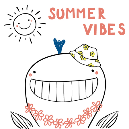 Hand drawn portrait of a cute funny whale in flower chain, bucket hat, under summer sun. Isolated objects on white background.
