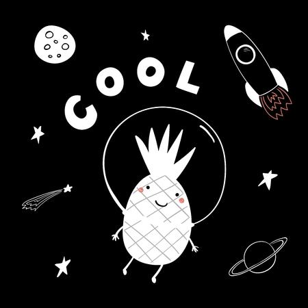 Hand drawn portrait of a cute funny pineapple flying in space, with typography. Isolated objects on white background. Line drawing. Vector illustration. Design concept for children print.  イラスト・ベクター素材
