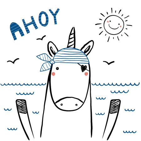 Hand drawn portrait of a cute funny sailor unicorn in striped bandana, with text Ahoy. Isolated objects on white background. Line drawing. Vector illustration. Design concept for children print. Stockfoto - 97551082