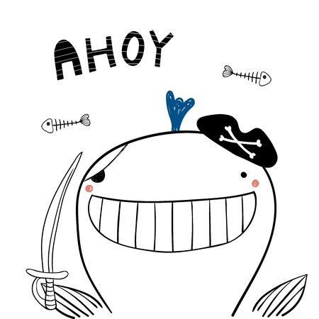 Hand drawn portrait of a cute funny pirate whale in tricorne hat, with a cutlass. Isolated objects on white background. Line drawing. Vector illustration. Design concept for children print. Ilustração