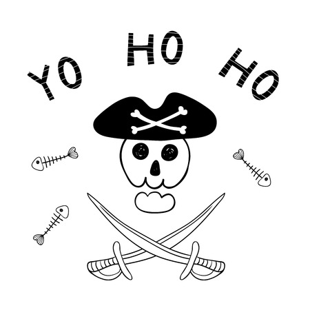 Hand drawn funny Jolly Roger, scull in pirate hat, cutlasses, fish bones, text Yo ho ho.