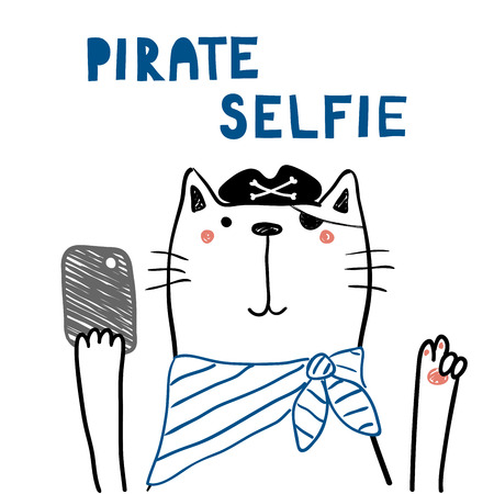 Hand drawn portrait of a cute funny pirate cat with a smart phone, taking selfie.
