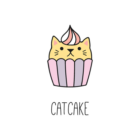 Hand drawn vector illustration of a kawaii funny cupcake with cat ears. Isolated objects on white background. Line drawing. Design concept for cat cafe, children print.