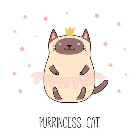 王冠、ピンクのバレエチュチュで面白いシャム猫可愛いの手描きベクトルイラスト。白い背景に分離されたオブジェクト。線画。子供の印刷のため  イラスト・ベクター素材