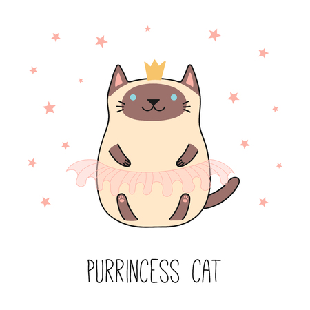 Hand drawn vector illustration of a kawaii funny Siamese cat in a crown, pink ballet tutu. Isolated objects on white background. Line drawing. Design concept for children print.