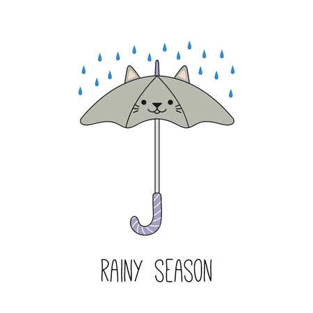Hand drawn vector illustration of a kawaii funny umbrella with cat ears, under the rian. Isolated objects on white background. Line drawing. Design concept for rainy season children print.