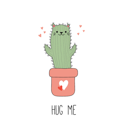 Hand drawn vector illustration of a  funny cactus cat in a pot, with text Hug me. Isolated objects on white background. Line drawing. Design concept for children print. Ilustração