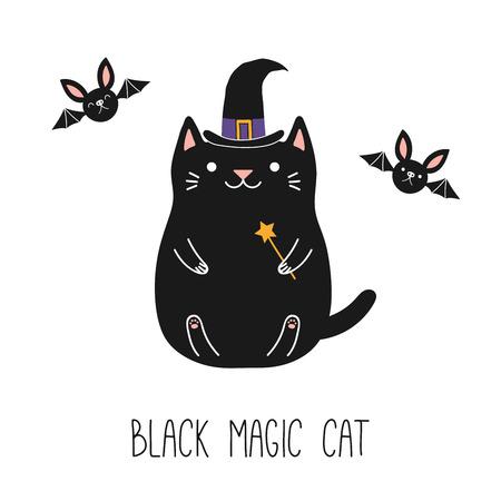 Übergeben Sie gezogene Vektorillustration einer kawaii lustigen schwarzen Katze in einem Hexenhut und magischen Stab halten, mit Fliegenschlägern. Isolierte Objekte auf weißem Hintergrund. Strichzeichnung. Design-Konzept für Kinder drucken.