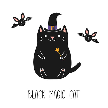 Hand drawn vector illustration of a kawaii funny black cat in a witch hat, holding magic wand, with flying bats. Isolated objects on white background. Line drawing. Design concept for children print.