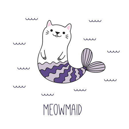 Hand drawn vector illustration of a kawaii funny cat mermaid swimming in the sea. Isolated objects on white background. Line drawing. Design concept for children print. Ilustração