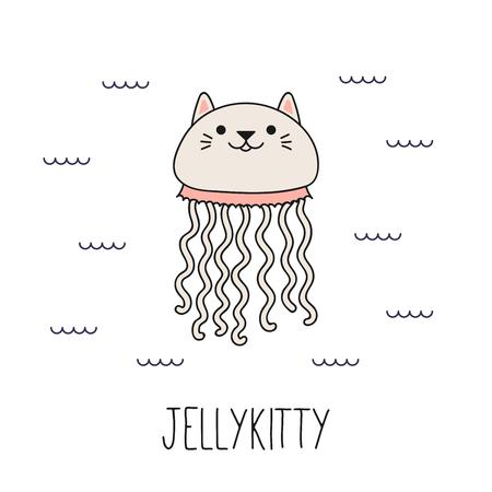 Übergeben Sie gezogene Vektorillustration einer kawaii lustigen Katzenqualle und im Meer schwimmen. Isolierte Objekte auf weißem Hintergrund. Strichzeichnung. Design-Konzept für Kinder drucken. Vektorgrafik