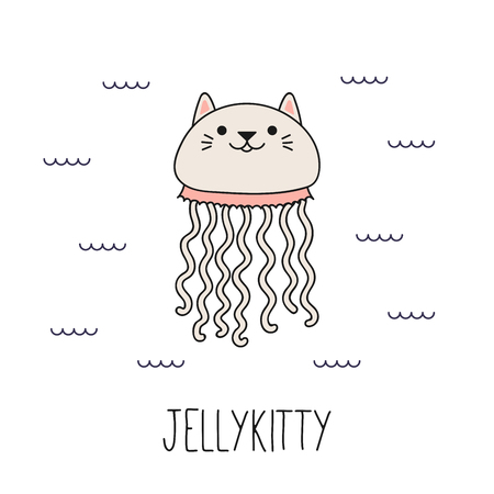 Hand drawn vector illustration of a kawaii funny cat jellyfish, swimming in the sea. Isolated objects on white background. Line drawing. Design concept for children print. Ilustração