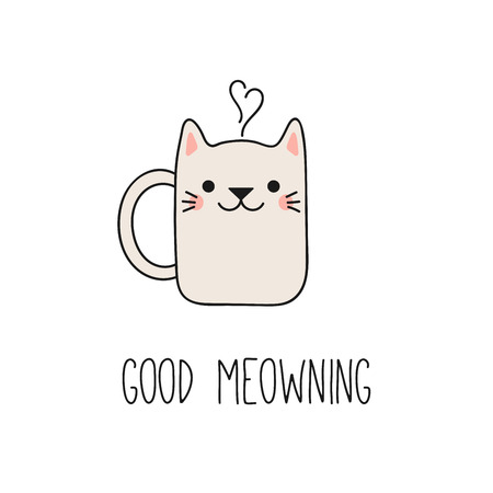 Hand drawn vector illustration of a kawaii funny steaming mug cup with cat ears, text Good meowning. Isolated objects on white background. Line drawing. Design concept for cat cafe, children print. Banco de Imagens - 97333998