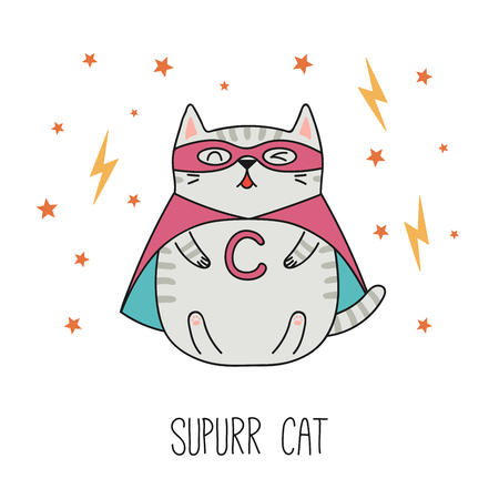 Hand drawn vector illustration of a kawaii funny striped super hero cat in a cape, mask. Isolated objects on white background. Line drawing. Design concept for children print.