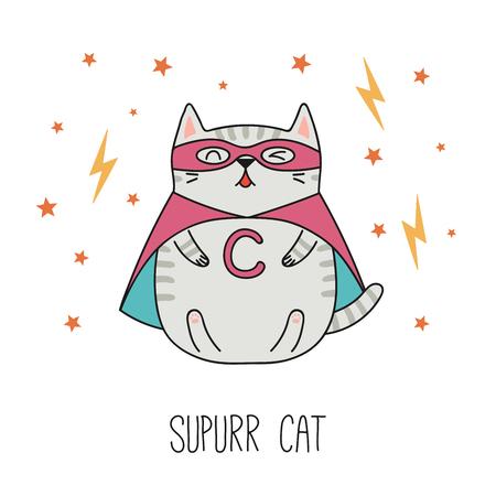 Ręcznie rysowane ilustracji wektorowych kawaii śmieszne paski super bohatera kota w pelerynie, maska. Pojedyncze obiekty na białym tle. Rysowanie linii. Koncepcja projektu dla dzieci do druku.