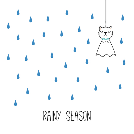 Hand drawn vector illustration of kawaii funny Japanese teruterubozu doll with cat ears, under the rian. Isolated objects on white background. Line drawing. Design concept for rainy season kids print.