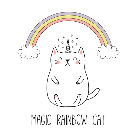 Hand drawn vector illustration of a  funny unicorn cat under the rainbow. Isolated objects on white background. Line drawing. Design concept for children print. Ilustração