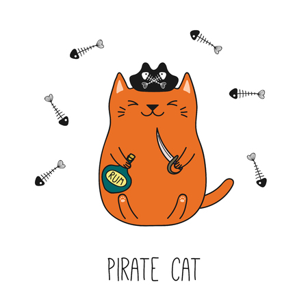Hand drawn vector illustration of a kawaii funny pirate cat in a tricorne hat, holding cutlass, bottle of rum. Isolated objects on white background. Line drawing. Design concept for children print. Ilustração