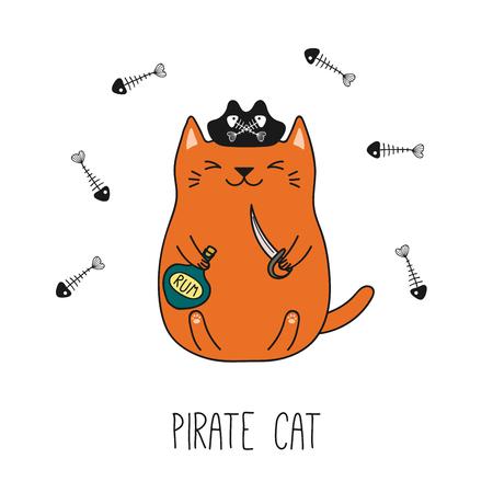 Illustration vectorielle dessinés à la main d'un chat pirate drôle kawaii dans un chapeau tricorne, tenant un coutelas, une bouteille de rhum. Objets isolés sur fond blanc. Dessin au trait. Concept de design pour les enfants. Banque d'images - 97318341