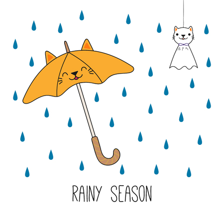 Hand drawn vector illustration of a kawaii cat umbrella, Japanese teruterubozu doll, under the rian. Isolated objects on white background. Line drawing. Design concept for rainy season children print.