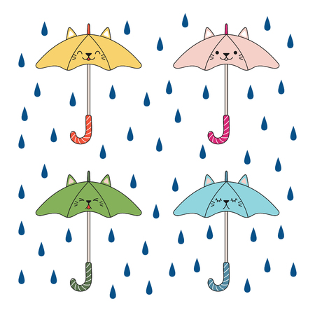 Hand drawn vector illustration of a kawaii funny umbrellas with cat ears, under the rian. Isolated objects on white background. Line drawing. Design concept for rainy season children print.