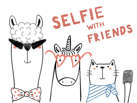 Hand drawn portrait of a cute funny unicorn, llama, cat, taking selfie together. Isolated objects on white background. Line drawing. Vector illustration. Design concept for children print. 向量圖像
