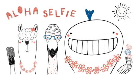 逗人喜爱的滑稽的动物手拉的画象在夏天,采取在阳光下的selfie。在白色背景的被隔绝的对象。线绘图。矢量图。儿童设计概念打印。
