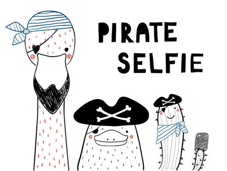 귀여운 재미 있은 오리너구리, 플라밍고, 해 적 모자에 선인장, selfie를 복용의 손으로 그린 초상화. 흰색 배경에 고립 된 개체입니다. 선 그리기. 벡터  일러스트