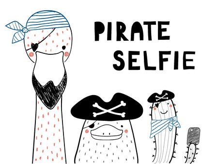 Hand drawn portrait of a cute funny platypus, flamingo, cactus in pirate hats, taking selfie. Isolated objects on white background. Line drawing. Vector illustration. Design concept for children print Ilustração