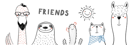 Hand drawn portrait of a cute funny flamingo, sloth, cactus, llama, cat, with text Friends. Isolated objects on white background. Line drawing. Vector illustration. Design concept for children print. Illustration