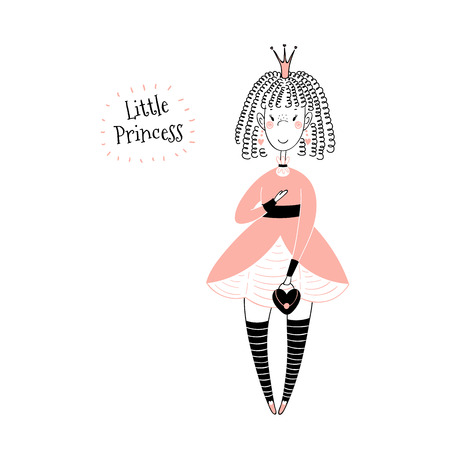 Hand drawn vector illustration of a cute little princess in a pink dress with text. Isolated objects on white background. Line drawing. Unfilled outline. Design concept for children print.