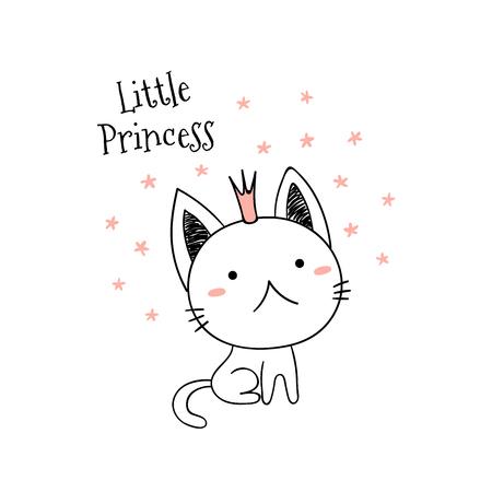 Illustrazione disegnata a mano di vettore di un piccolo gattino divertente sveglio in una corona con testo Piccola principessa. Oggetti isolati su sfondo bianco. Linea di disegno. Contorno non riempito. Concetto di design per la stampa per bambini. Archivio Fotografico - 97837933