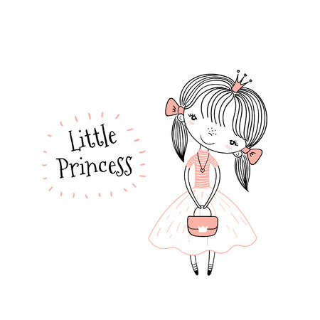 Hand drawn vector illustration of a cute little princess in a pink dress, with text. Isolated objects on white background. Line drawing. Unfilled outline. Design concept for children print.