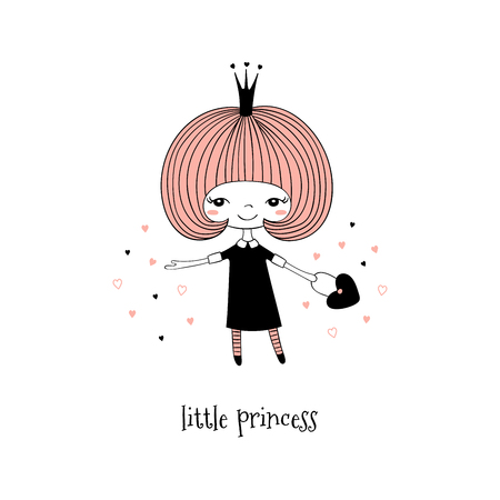 Hand drawn vector illustration of a cute little princess in a black dress, with text. Isolated objects on white background. Line drawing. Unfilled outline. Design concept for children print. Çizim