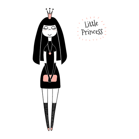 Hand drawn vector illustration of a cute little princess in a black dress, with text. Isolated objects on white background. Line drawing. Unfilled outline. Design concept for children print. Vettoriali