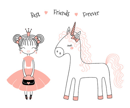 Hand drawn vector illustration of a cute little princess in a pink dress and a unicorn, with text. 일러스트