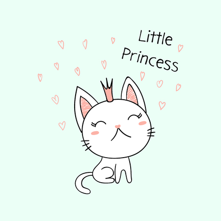 Hand drawn vector illustration of a cute funny little kitten in a crown, with text Little princess. Archivio Fotografico - 97694259