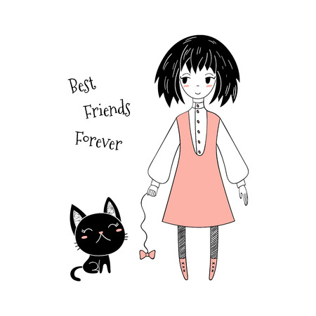 Hand drawn vector illustration of a cute little girl and a kitten, with text.